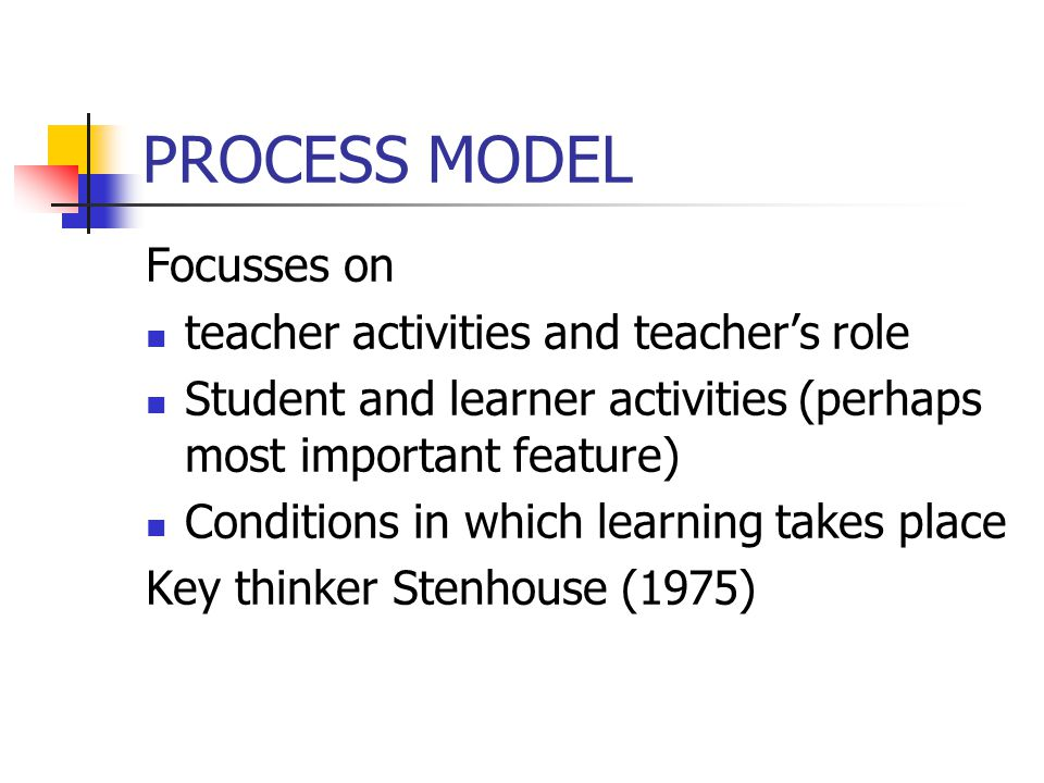 PROCESS MODEL Focusses on teacher activities and teacher's role