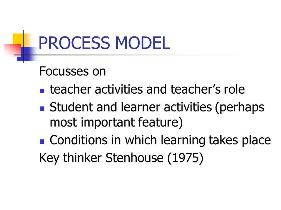 PROCESS MODEL Focusses on teacher activities and teacher's role