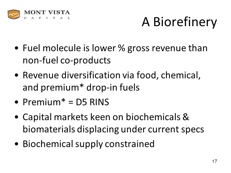 A Biorefinery Fuel molecule is lower % gross revenue than non-fuel co-products.