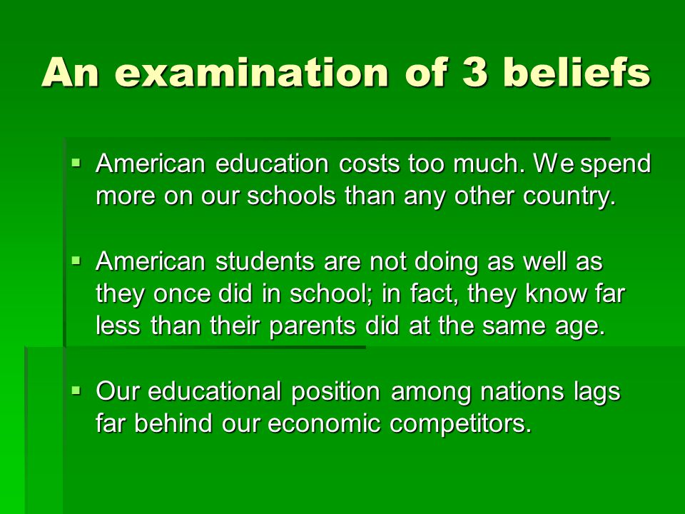 An examination of 3 beliefs