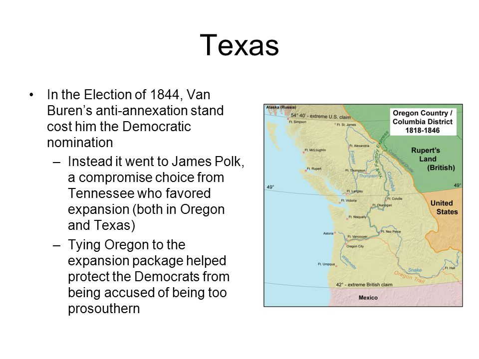 Texas In the Election of 1844, Van Buren's anti-annexation stand cost him the Democratic nomination.