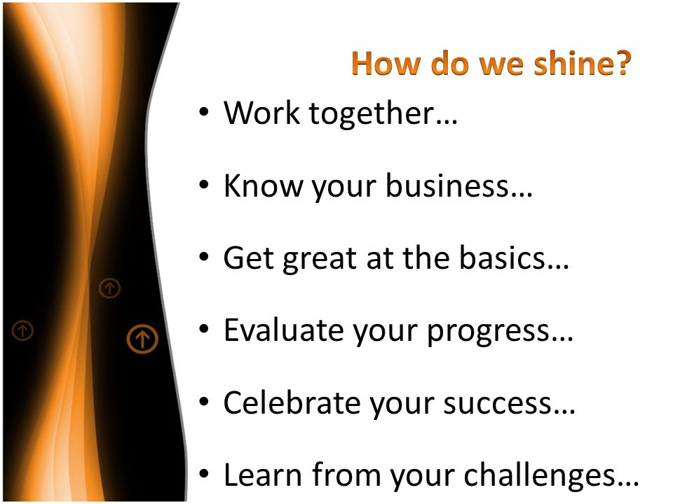 How do we shine Work together… Know your business…