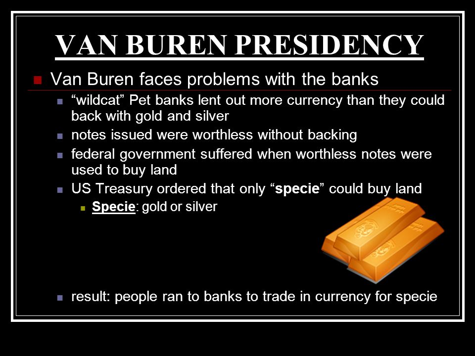 VAN BUREN PRESIDENCY Van Buren faces problems with the banks