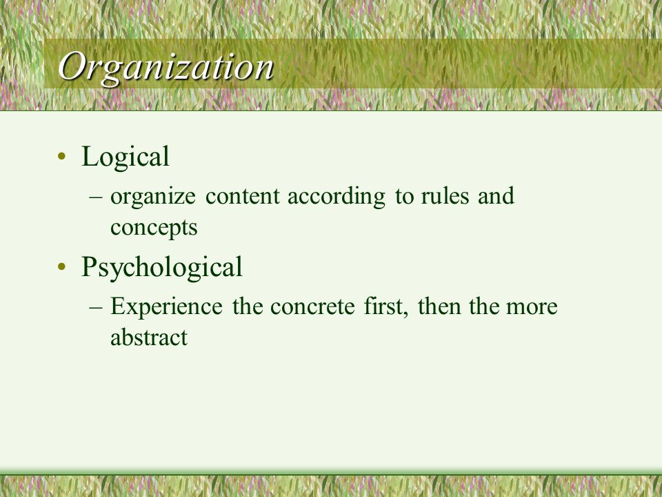 Organization Logical Psychological