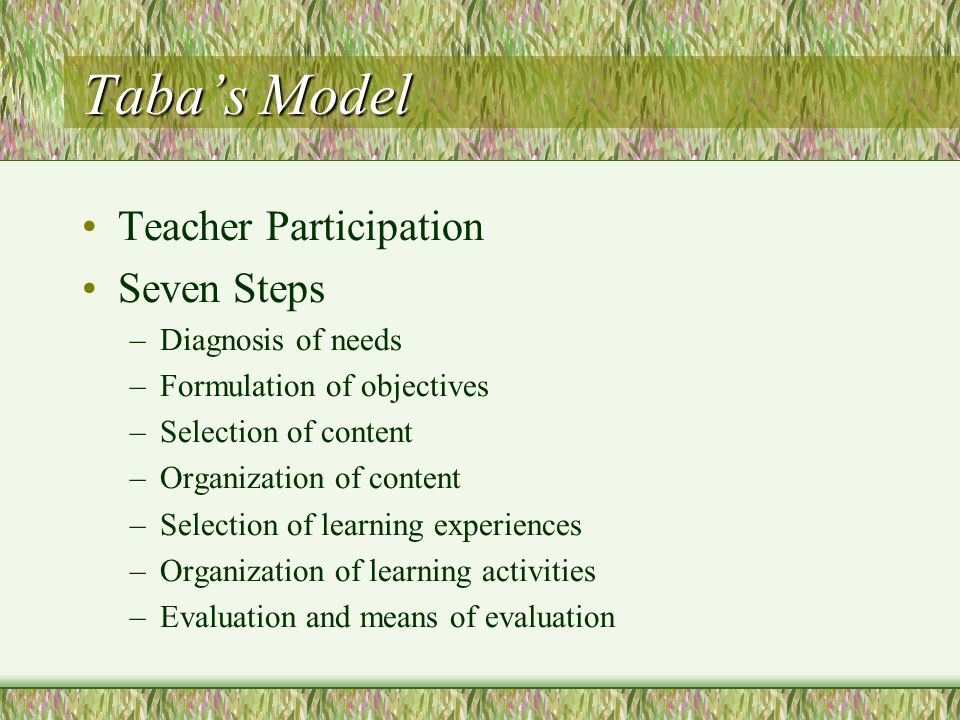 Taba's Model Teacher Participation Seven Steps Diagnosis of needs