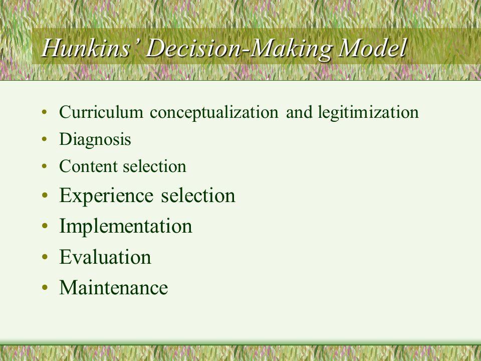 Hunkins' Decision-Making Model