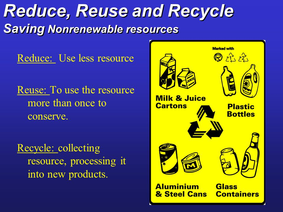 Reduce, Reuse and Recycle Saving Nonrenewable resources