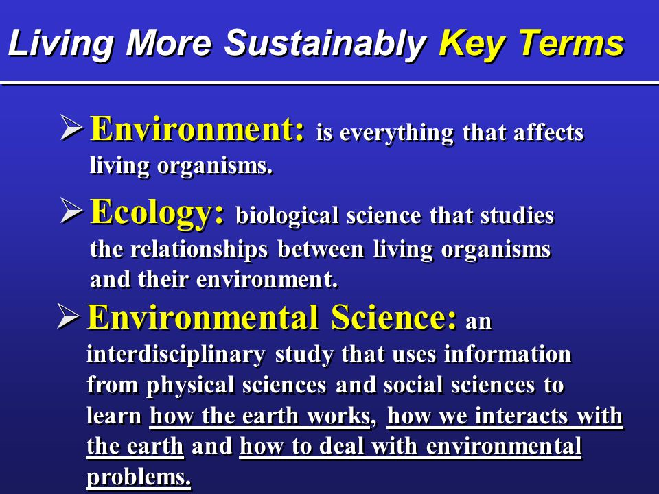 Living More Sustainably Key Terms