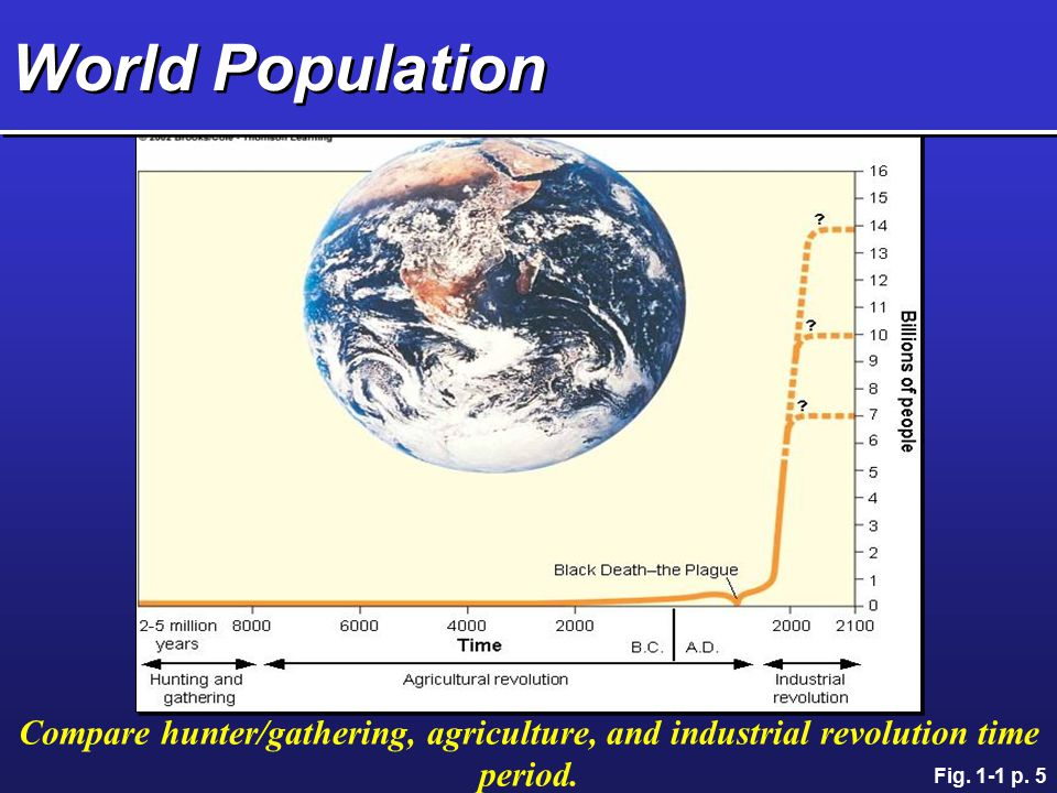 World Population Compare hunter/gathering, agriculture, and industrial revolution time period.