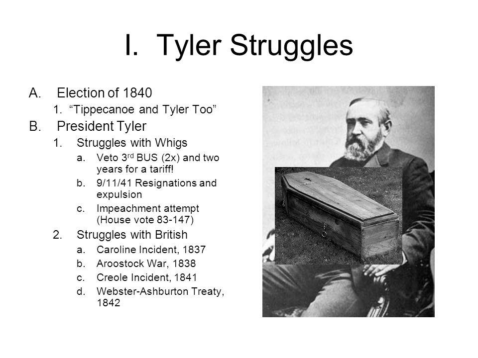 I. Tyler Struggles Election of 1840 President Tyler