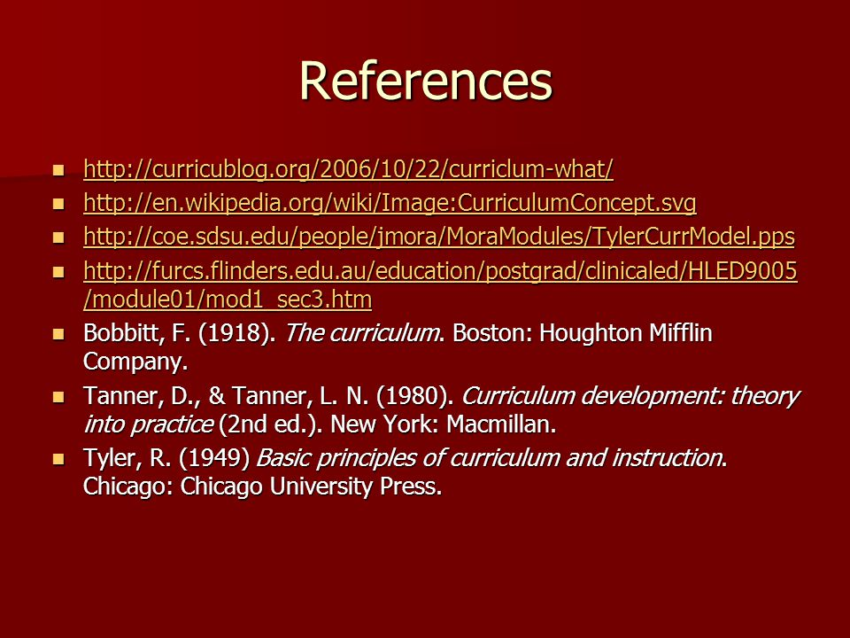 References http://curricublog.org/2006/10/22/curriclum-what/