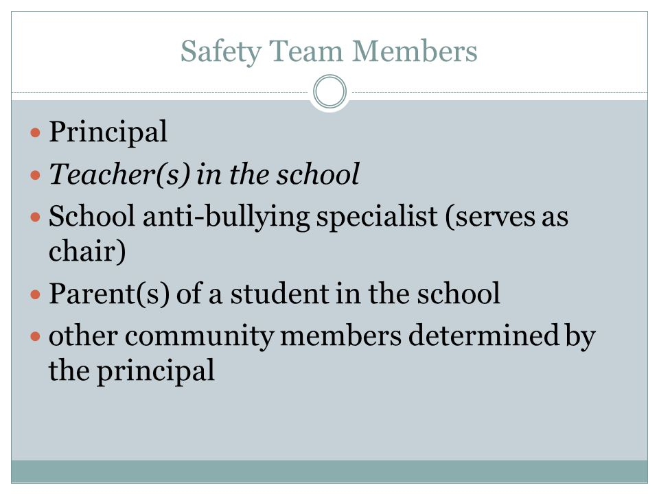 Safety Team Members Principal Teacher(s) in the school