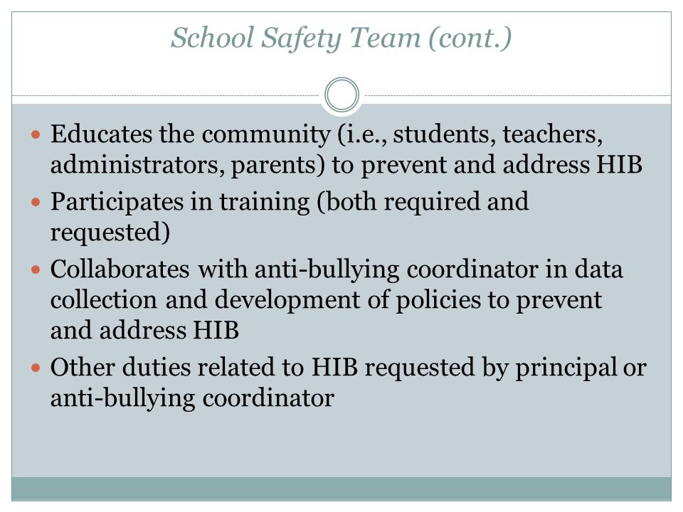 School Safety Team (cont.)