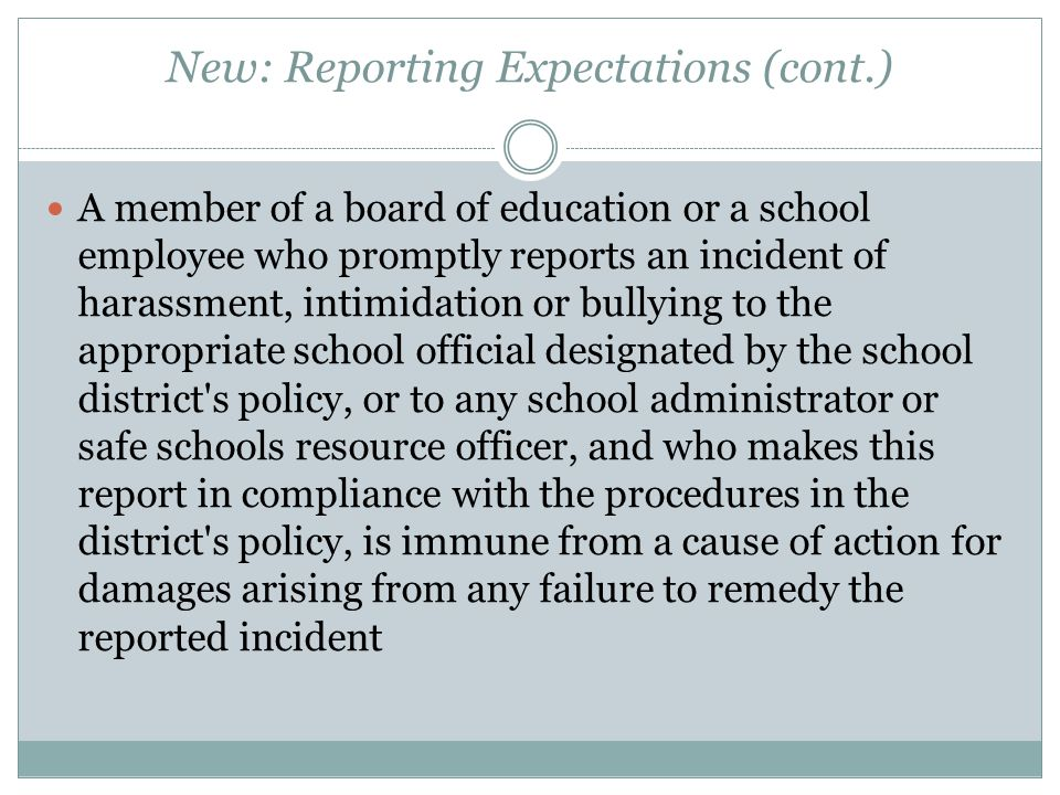 New: Reporting Expectations (cont.)