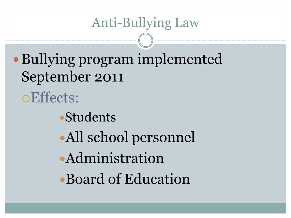 Bullying program implemented September 2011 Effects: