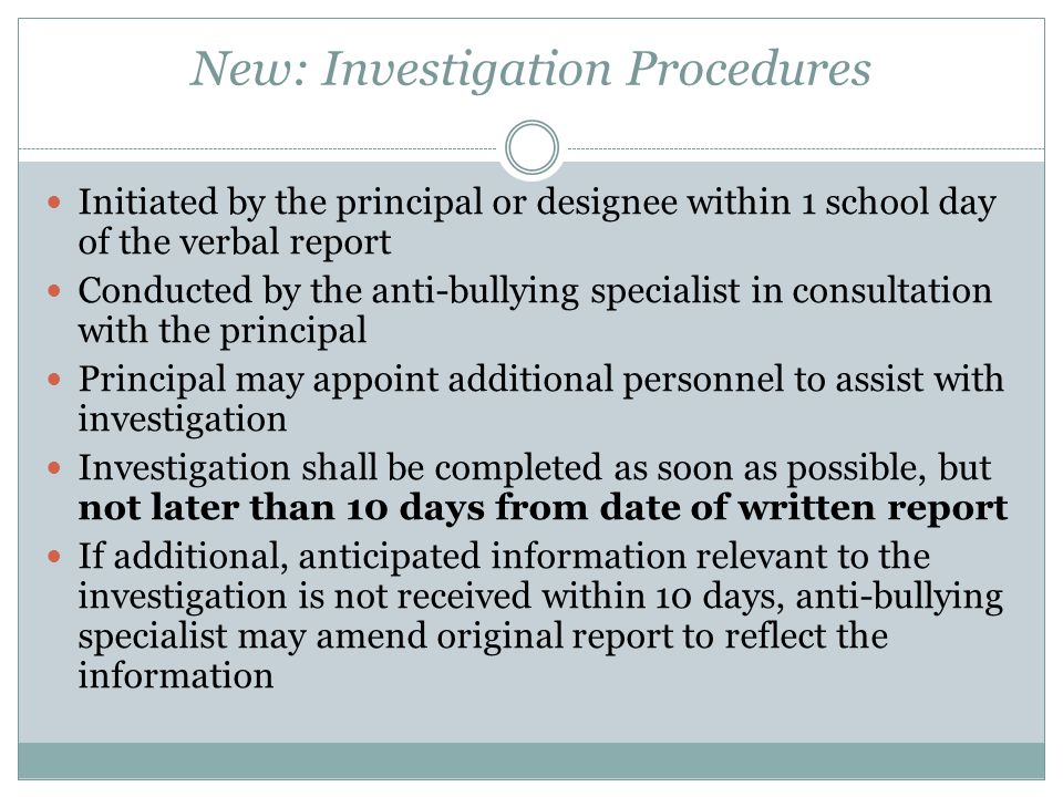 New: Investigation Procedures