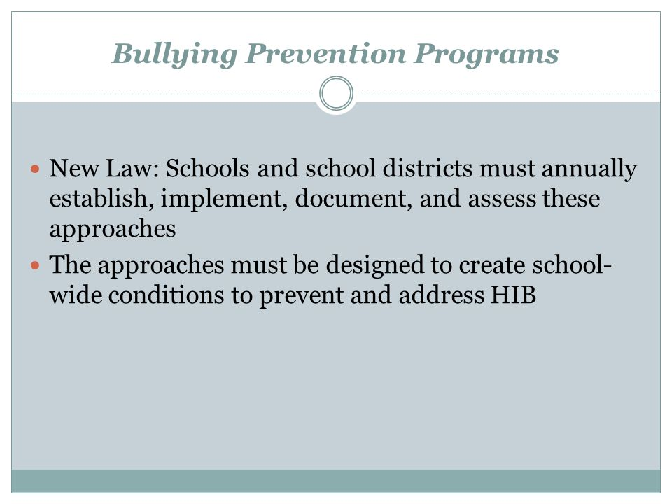 Bullying Prevention Programs