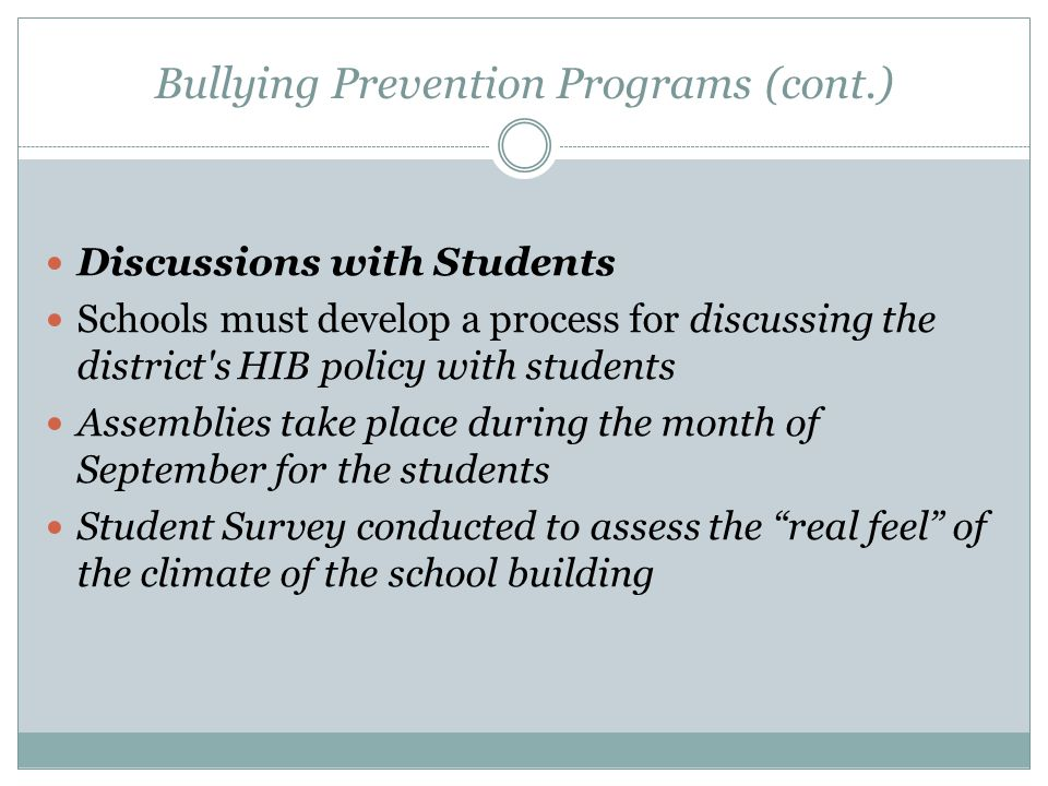 Bullying Prevention Programs (cont.)