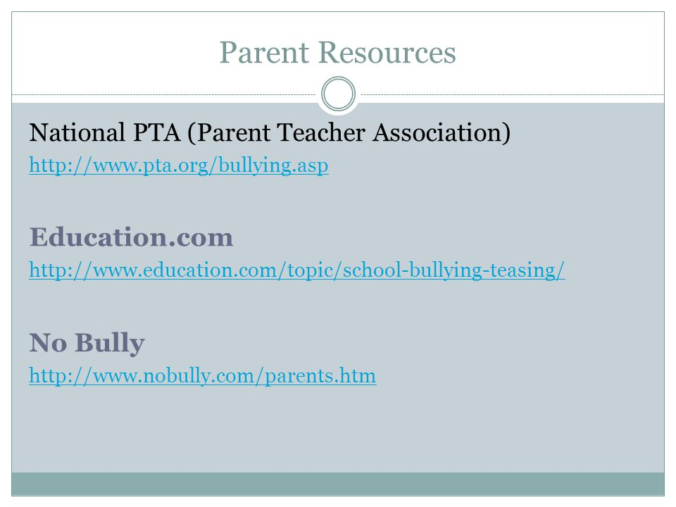 Parent Resources Education.com No Bully