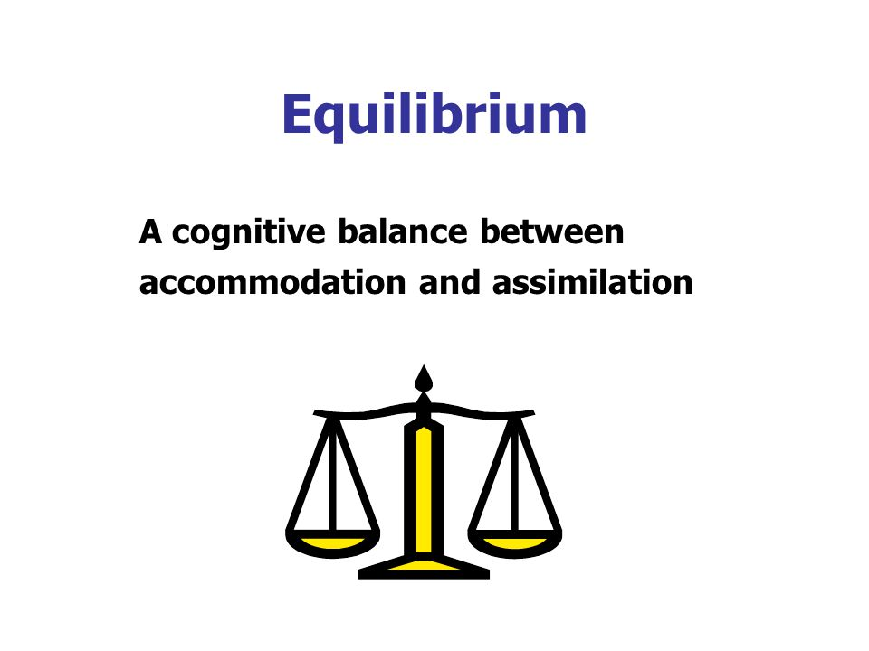 Equilibrium A cognitive balance between accommodation and assimilation