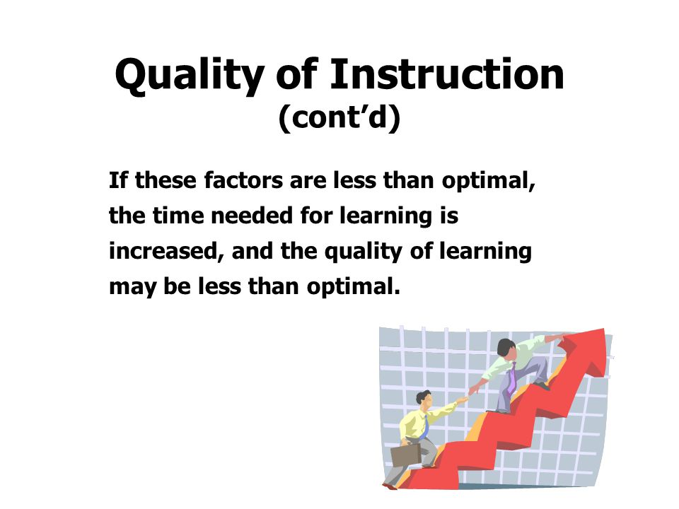 Quality of Instruction (cont'd)