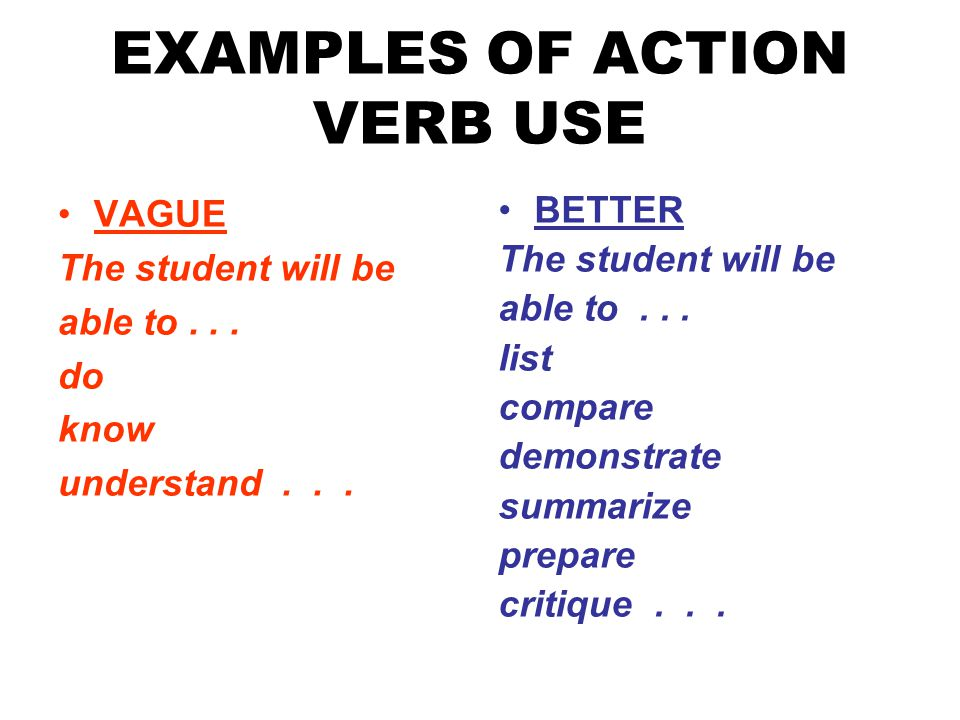 EXAMPLES OF ACTION VERB USE