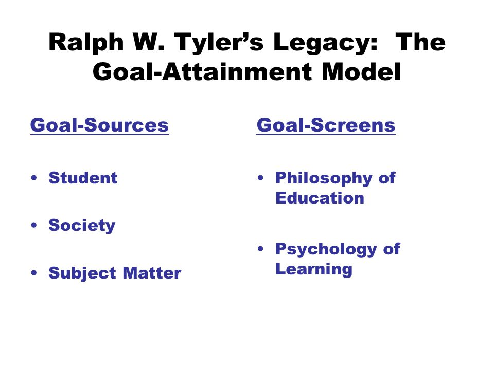 Ralph W. Tyler's Legacy: The Goal-Attainment Model