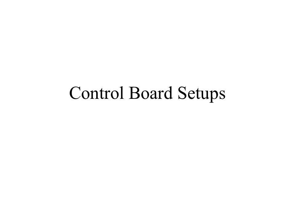 Control Board Setups The following slides discuss the various control boards: Fan coils - 40FK/FK4C/FV4A.