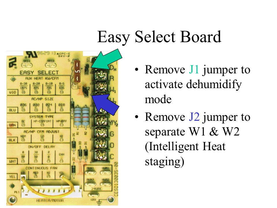 Easy Select Board Remove J1 jumper to activate dehumidify mode