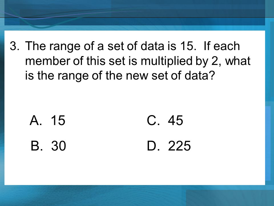 The range of a set of data is 15
