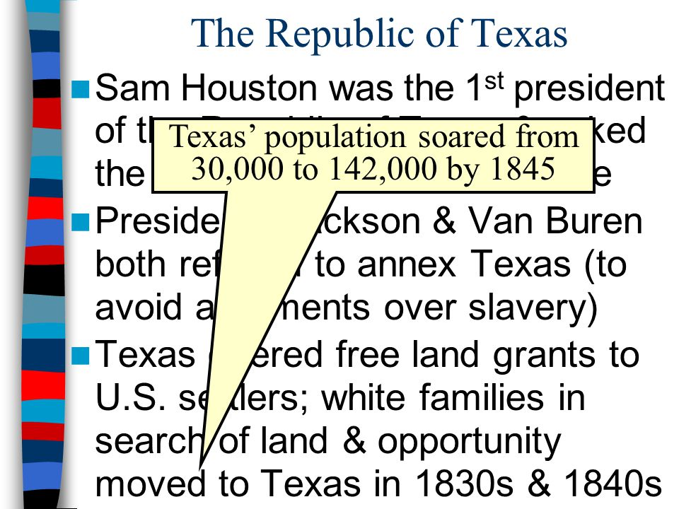 Texas' population soared from 30,000 to 142,000 by 1845