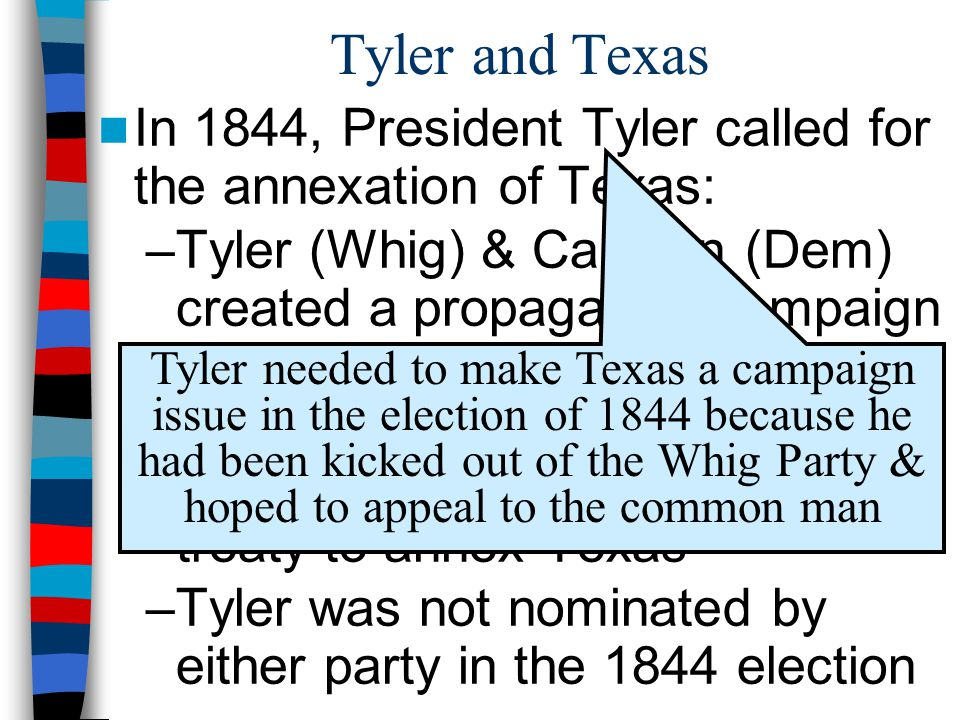 Tyler and Texas In 1844, President Tyler called for the annexation of Texas: