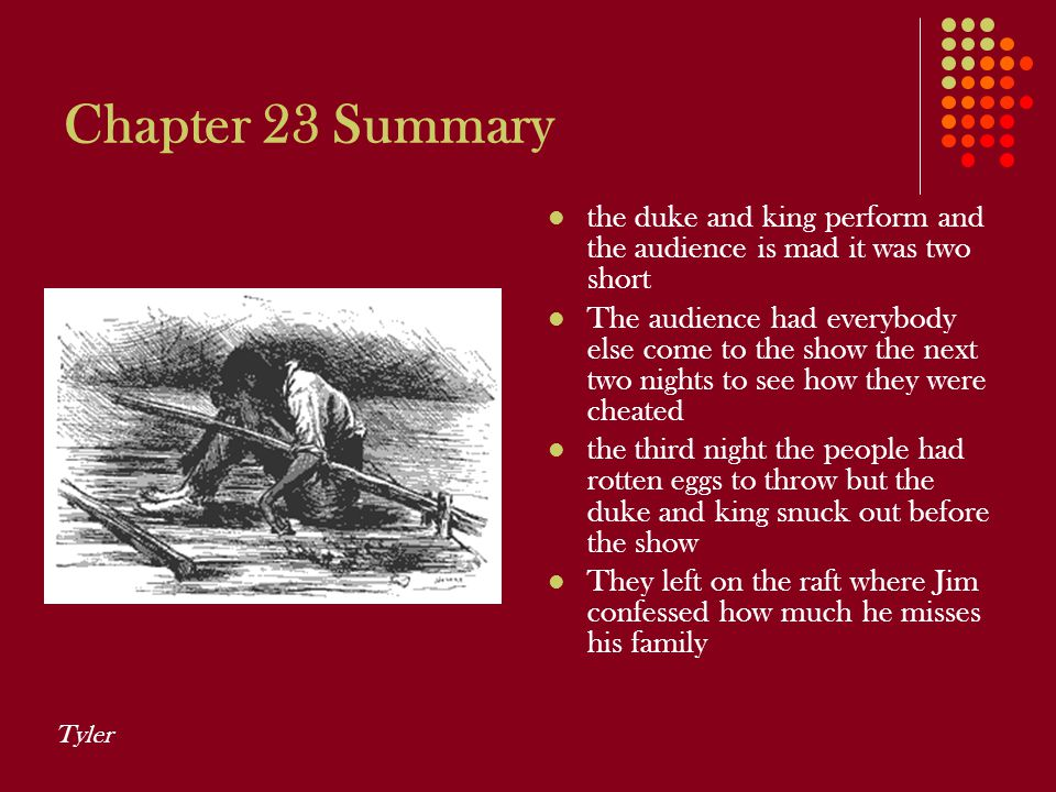 Chapter 23 Summary the duke and king perform and the audience is mad it was two short.