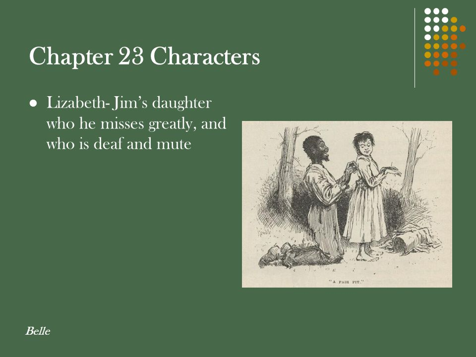 Chapter 23 Characters Lizabeth- Jim's daughter who he misses greatly, and who is deaf and mute.