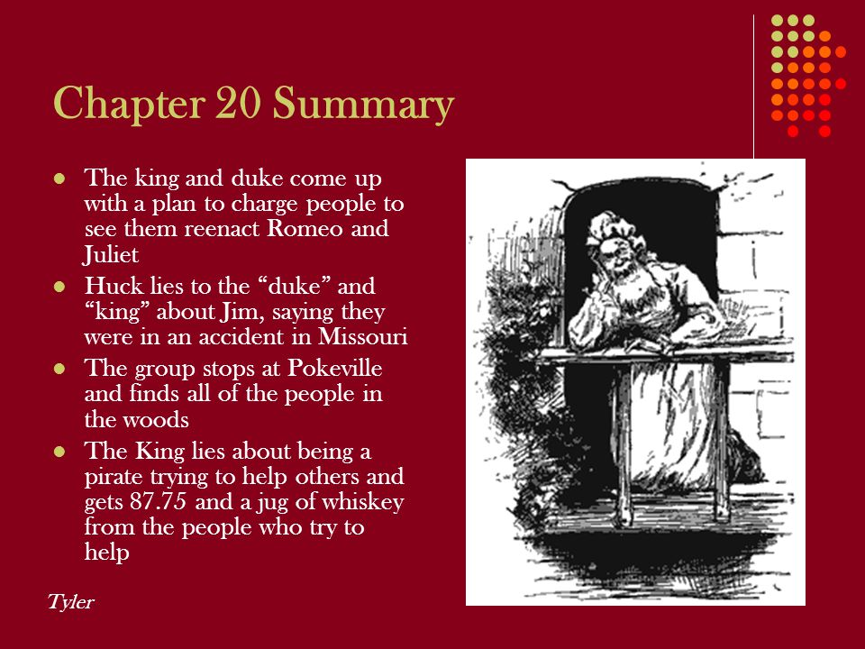Chapter 20 Summary The king and duke come up with a plan to charge people to see them reenact Romeo and Juliet.
