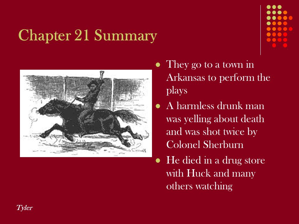 Chapter 21 Summary They go to a town in Arkansas to perform the plays