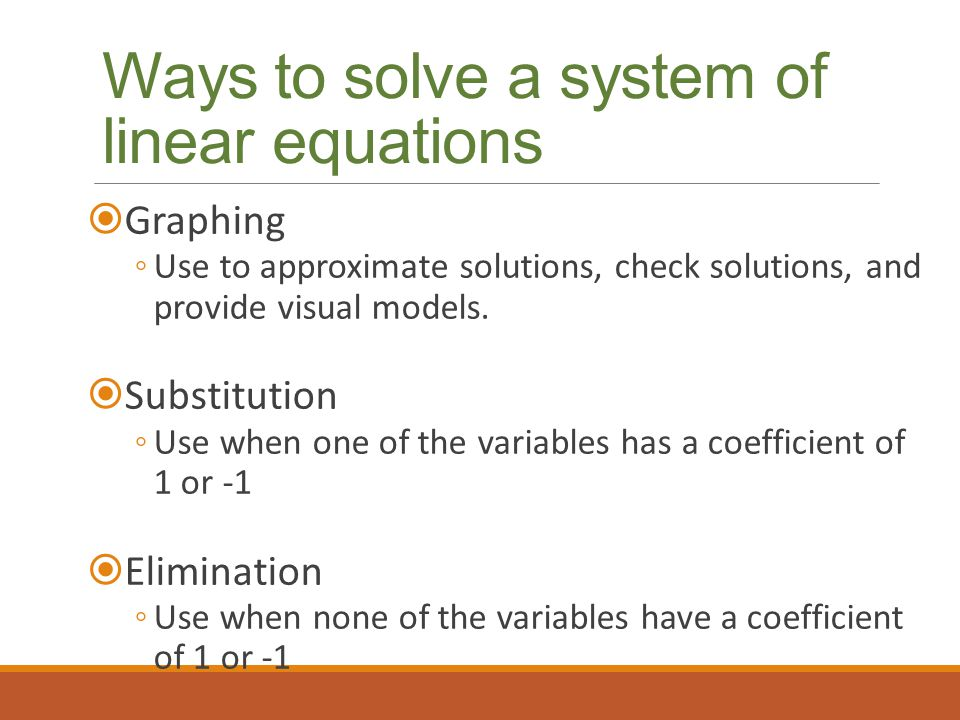Ways to solve a system of linear equations