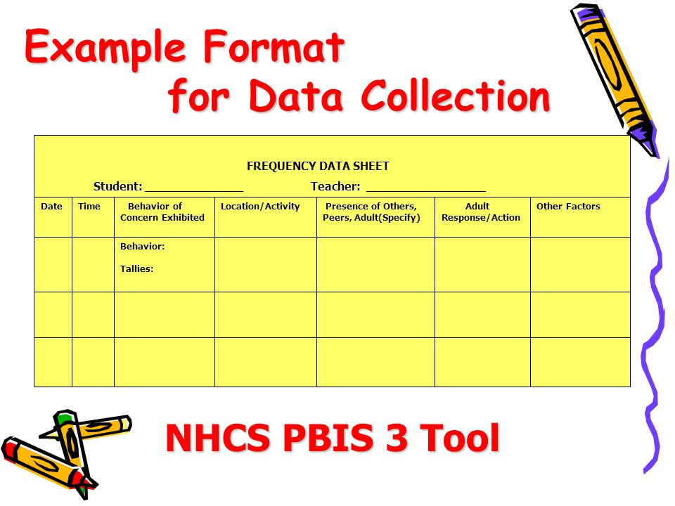 Example Format for Data Collection