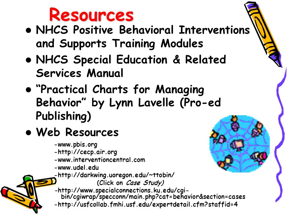 Resources NHCS Positive Behavioral Interventions and Supports Training Modules. NHCS Special Education & Related Services Manual.