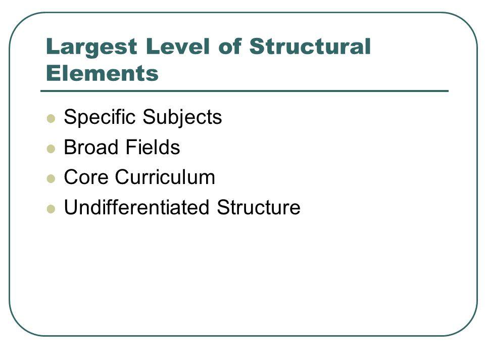 Largest Level of Structural Elements