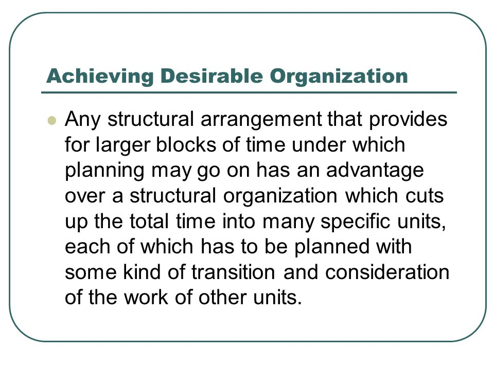 Achieving Desirable Organization