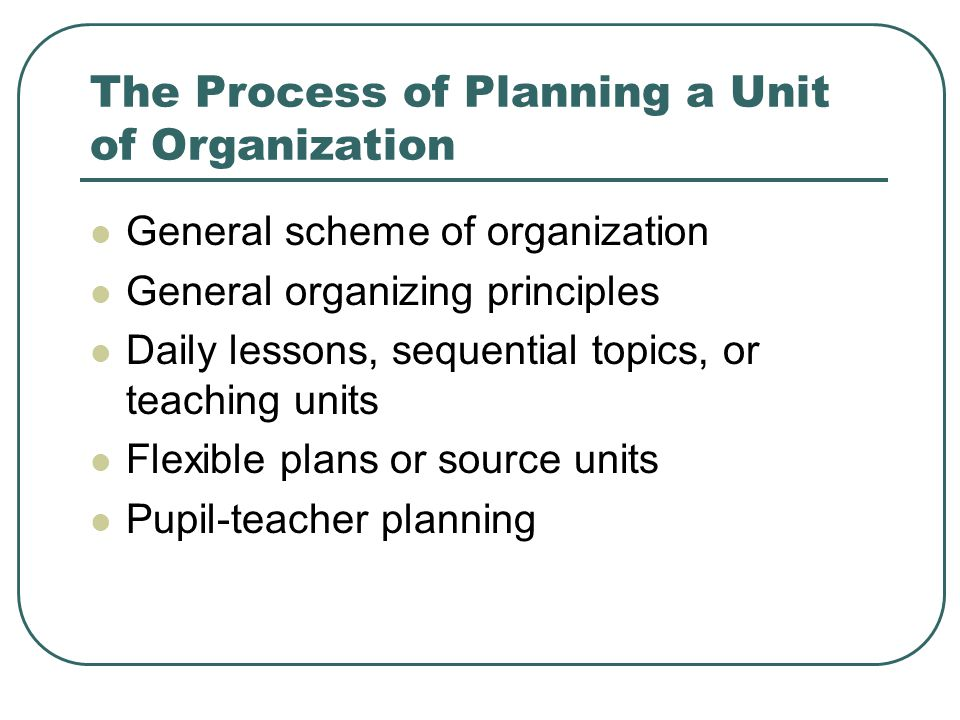 The Process of Planning a Unit of Organization