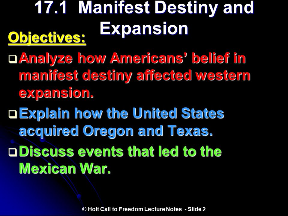 17.1 Manifest Destiny and Expansion
