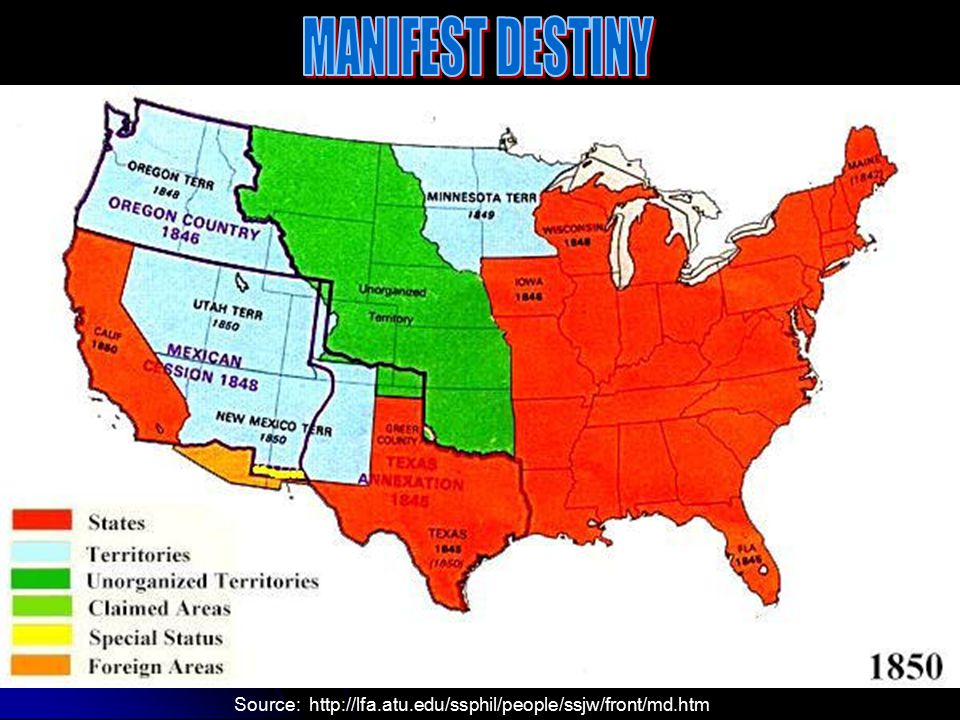 MANIFEST DESTINY Source: http://lfa.atu.edu/ssphil/people/ssjw/front/md.htm