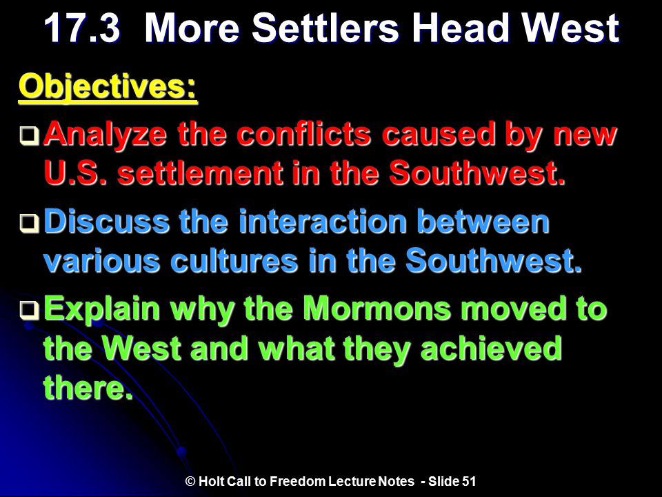 17.3 More Settlers Head West