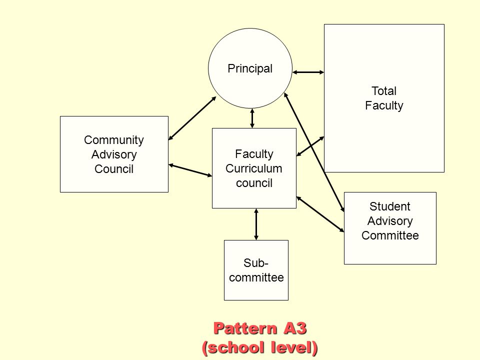 Pattern A3 (school level) Principal Total Faculty Community Advisory