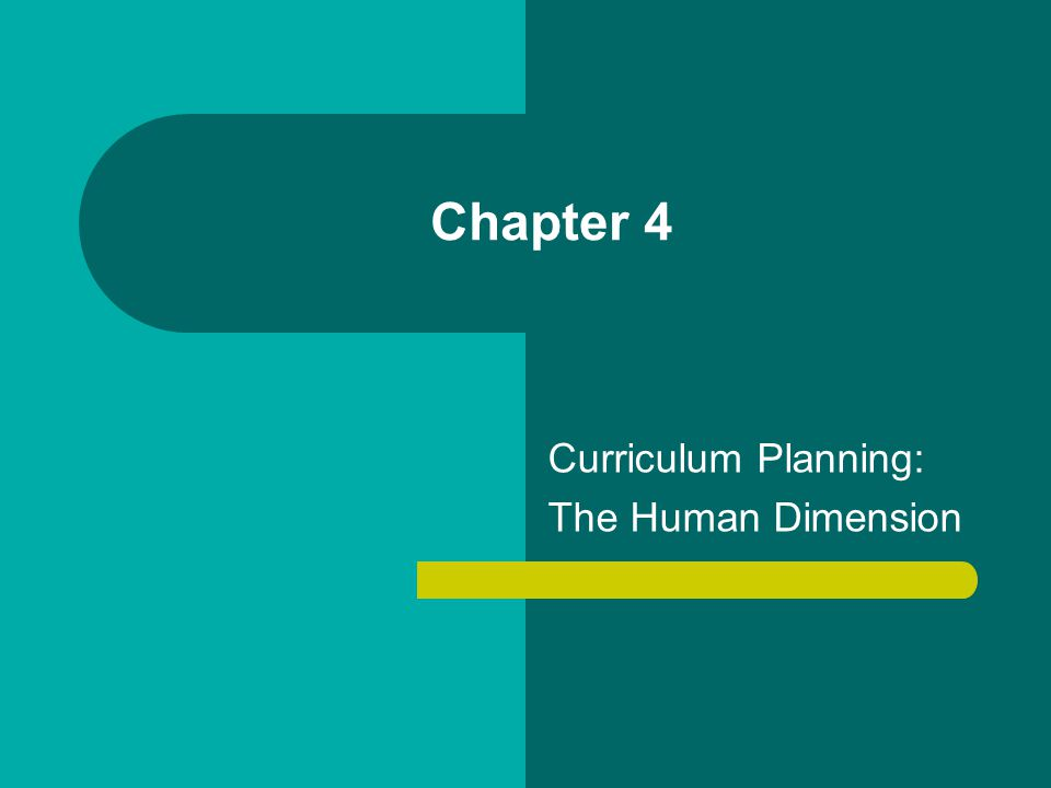 Curriculum Planning: The Human Dimension