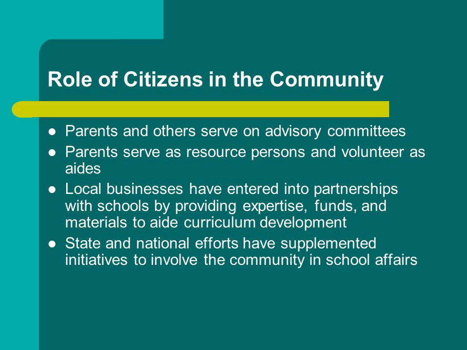 Role of Citizens in the Community