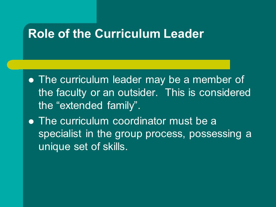 Role of the Curriculum Leader