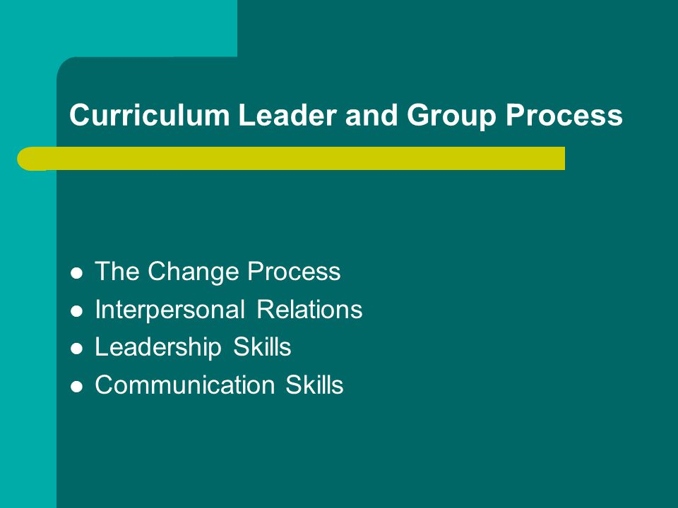 Curriculum Leader and Group Process